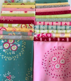 Hearts & Happy Flowers fat 1/8th fabric pack